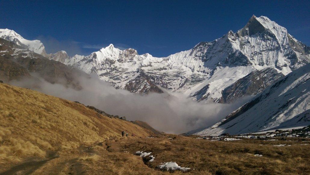 Annapurna Base Camp Trek view down the trail to Machapuchare base camp