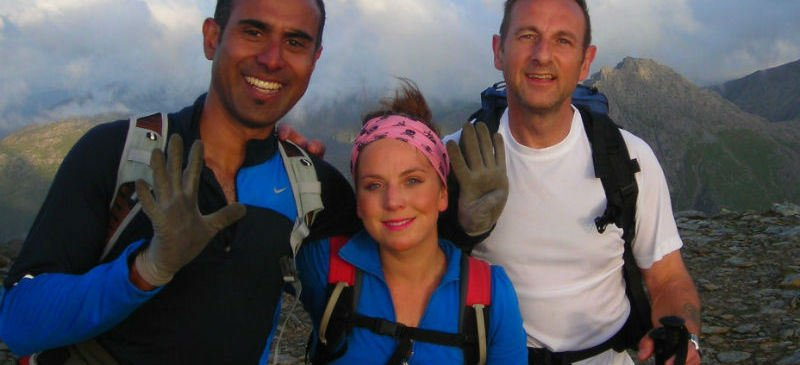 Image showing three participants on the Carneddau mountain range taking part in the Welsh 3000s Challenge