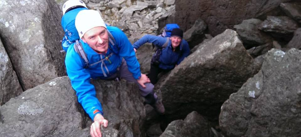 Guided scrambling on Tryfan in Snowdonia