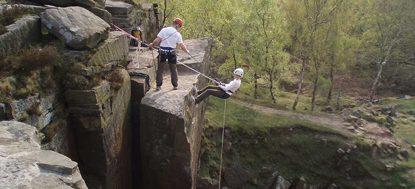 image showing a person abseiling in the Peak District