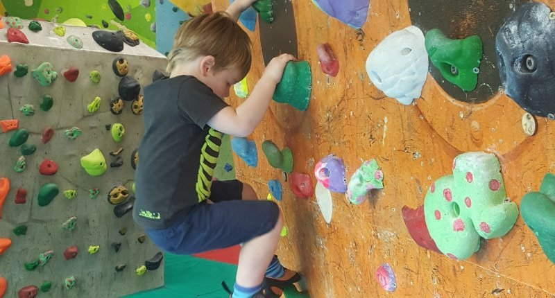 My youngest son climbing at the Mini Works bouldering wall in Sheffield