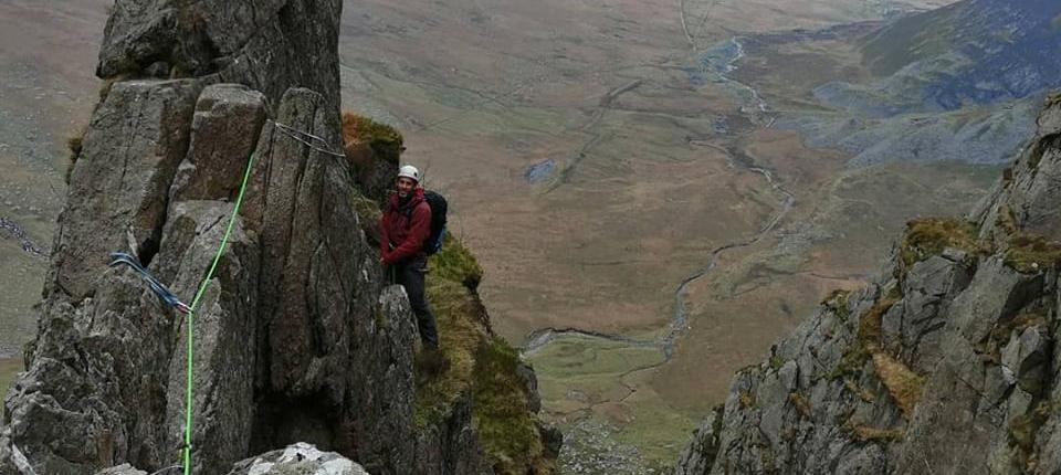 scrambling on Ampitheatre Butress in Snowdonia