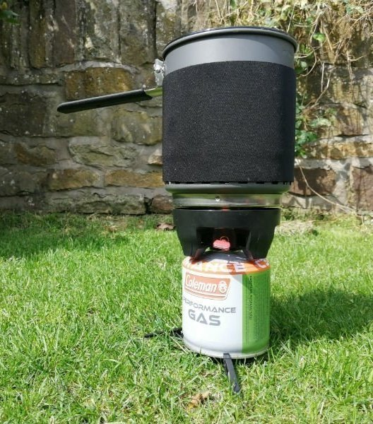 image of a stacked gas camping stove system