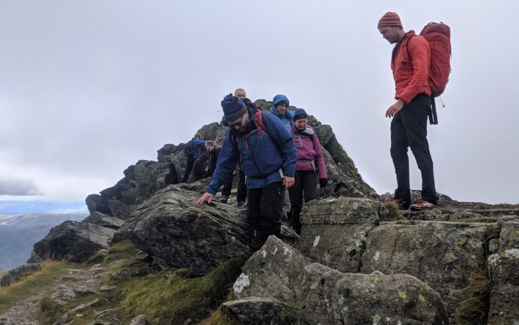 mountain leader positioning on Striding Edge