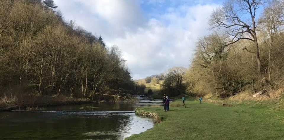 Walking along the River Bradford towards Youlegreave on our White Peak Lathkill Dale walk