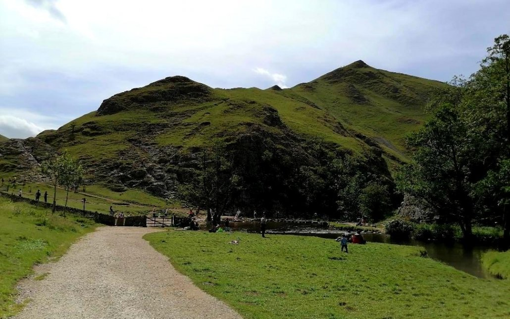 image showing view of Dovedale stepping stones and Thorpe Cloud in the background