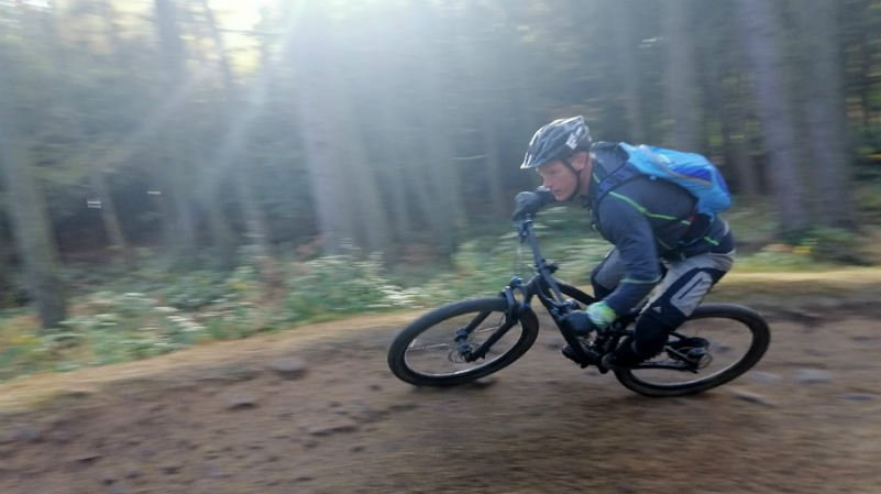 Joe cornering on his mountain bike at Lady Canning's Plantation, Ringinglow, Sheffield
