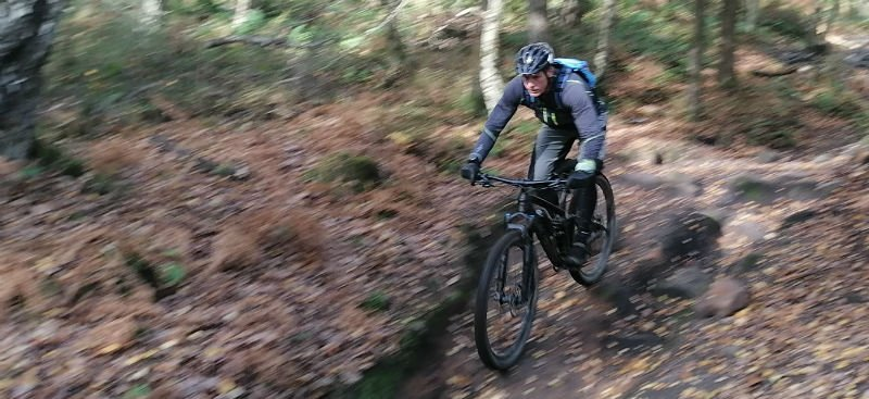 Joe on the downhill trails in the Peak District on his MTB