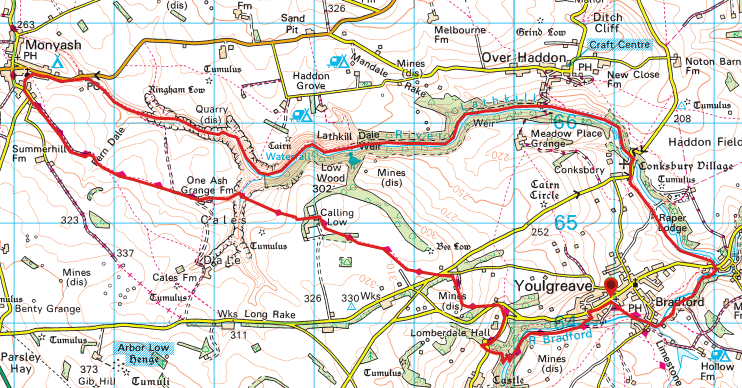 Map for Bronze Navigation Consolidation lathkill dale