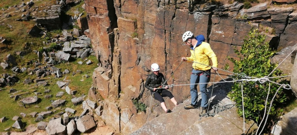 abseiling activity in the Peak District