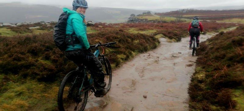 Mountain biking on Froggatt Edge in the rain